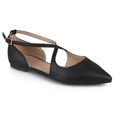 Journee Collection Womens Pointed Toe Crossover Flats ** Learn more by visiting the image link. Note:It is Affiliate Link to Amazon.