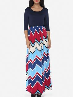 #AdoreWe #FashionMia Maxi Dresses - FashionMia Assorted Colors Zigzag Striped Chic Round Neck Maxi Dress - AdoreWe.com