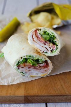 Turkey Ranch Club Wraps~ Filled with sliced turkey, bacon, cheese, and ranch dressing, satisfying and delicious!