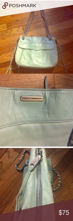 Rebecca Minkoff mint green swing bag Rebecca minkoff mint green swing bag. Can be worn as shoulder or crossbody bag. Gently used with some graying on leather and tassels. Silver hardware. Rebecca Minkoff Bags Crossbody Bags
