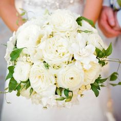 All-white bridal bouquet from Sarah York Grimshaw Designs.