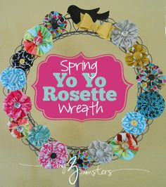 How to make a super easy bright spring wreath with yo yo rosettes (rosettes are cute and hairbows)