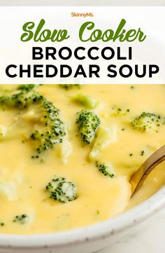 """The main focus of our recipes is to cook with whole food ingredients. Our slow cooker, broccoli cheddar soup recipe features fresh broccoli and other """"real"""" ingredients, unlike the soups you find in cans or packages. Healthy soups can be indulgent, as long as have quality ingredients that are fresh and free of preservatives.   slow cooker recipe   healthy recipes   recipe favorites #slowcooker #souprecipe #broccolirecipes healthyrecipes #dinnerrecipes #mealplan #menuprep #freezerrecipes"""