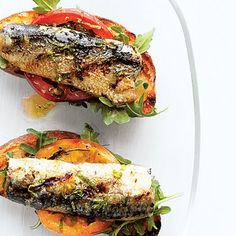 Grilled Sardine, Tomato, and Mint Bruschetta (Sunset)