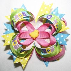 "4"" Easter Chick Hot Pink Lime Green Yellow Blue Stacked Hair Bow"