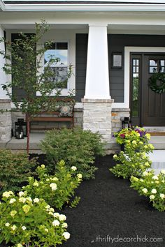 The exterior of our modern Craftsman home! from Thrifty Decor Chick A tour of the exterior of our new home -- a modern Craftsman style with dark paint, white trim and stone. Modern Craftsman, House With Porch, House Front, Craftsman Front Porches, House Exterior, Porch Design, Exterior Design, Craftsman House, Craftsman Exterior
