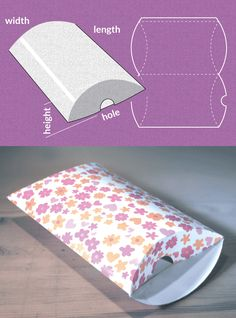 Completely custom sized template for a Pillow packTemplate Maker: FREE! Completely custom sized template for a Pillow pack Pillow Box Template, Paper Box Template, Gift Box Templates, Diy Gift Box, Diy Box, Diy Paper, Paper Crafts, Diy Pillows, Pillow Ideas
