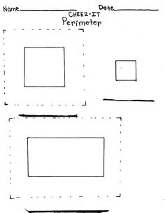 A work sheet I made to help students with SLD understand that perimeter is the distance around an object. The dotted lines guide students in placing Cheez-Its, and are helpful for students who tend to leave out the corners when calculating area on this activity or other activities that use graph paper to calculate perimeter.
