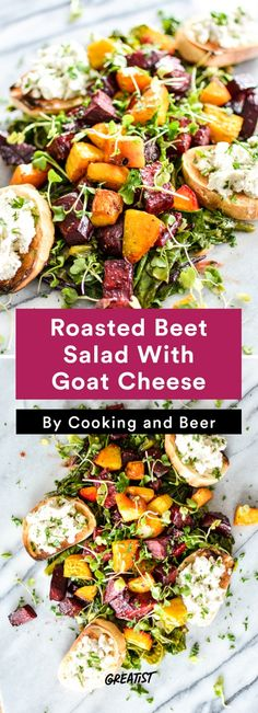 Roasted Beet Salad With Goat Cheese: The perfect warm salad for cold days! Roasted Vegetable Salad, Roasted Beet Salad, Vegetable Salad Recipes, Pasta Salad For Kids, Best Pasta Salad, Winter Salad Recipes, Beet Salad Recipes, Lunch Recipes, Healthy Recipes