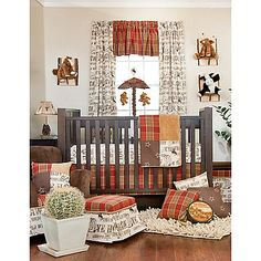 Your little cowboy will love spending time in his room with the Carson Crib Bedding Set. This collection includes a quilt, sheets, crib skirt and accessories with vintage print that reads Wild Wild West, Giddy-up, Rodeo, Ye Haw, Cowboy and Round Em Up.