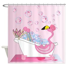 Ready for her flamingo soap bubble bath, this adorable flamingo has her shower cap on and toe nails polished.