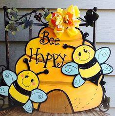 Bee door sign bumble bee door sign beehive by Angelascreativecraft Christmas Coasters, Summer Painting, Bee Party, Bee Theme, To Color, Door Signs, Classroom Door, Etsy, Bears