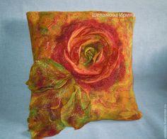 """Купить подушки валяные """"Солнечный сад"""" - разноцветный, подушка на диван, подушка декоративная, эко дом"""