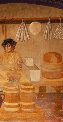 Fifteenth-century food vendor (fresco from Castello di Issogne) - Fontina - Wikipedia, the free encyclopedia