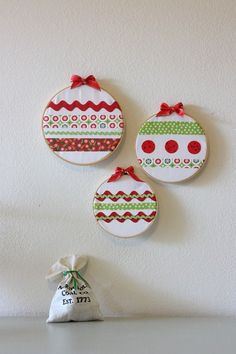 Christmas Embroidery Hoop Ornaments by Crafty Cupboard Christmas Sewing, Christmas Embroidery, Handmade Christmas, Christmas Holidays, Christmas Ornaments, Ornaments Ideas, Christmas Christmas, Simple Christmas, Fabric Ornaments