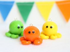 Colorful Polymer Clay Octopus Charm Sea by Emariecreations on Etsy