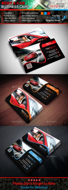 Rent A Car Business Card Template PSD #design Download: http://graphicriver.net/item/rent-a-car-business-card/13920233?ref=ksioks