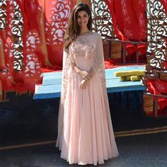 Arabic 2017 Elegant Pink Appliques Women Evening Dresses With Sheer Cape Beaded Chiffon Formal Gowns Indian Long Prom Dresses Floor Length Indian Gowns Dresses, Pakistani Dresses, Evening Dresses, Pink Gowns, Pastel Gowns, Indian Designer Outfits, Designer Dresses, Designer Clothing, Cape Outfit