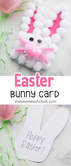 This Easter Bunny Handprint card is so cute! Kids will love making this Easter craft. Make an Easter Bunny craft on its own or turn it into an Easter card. #easter #eastercrafts #easterbunny #bunny #handprint via @bestideaskids