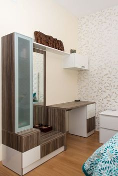 Master Bedroom Wardrobe With Dressing Table.Wall Units Furniture In 2019 Wardrobe Design Bedroom . House Tour: A Clean Minimalist Three Bedroom Condo Home . Home and Family Pop Design, Layout Design, Design Ideas, Design Inspiration, Wardrobe With Dressing Table, Dressing Table Design, Bedroom Dressing Table, Dressing Mirror, Dressing Tables