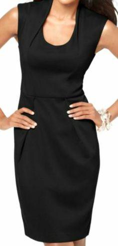 Elementz NEW Sleeveless Black Shift Dress Stretch Knit MEDIUM Draped Collar