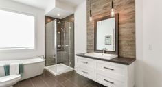 Best Bathroom Remodel Ideas on a Budget (Master & Guest Bathroom) Bathroom Toilets, Bathroom Renos, Bathroom Layout, Wood Bathroom, Wood Wall Tiles, Room Tiles, Bathroom Pictures, Family Bathroom, Bathroom Wallpaper