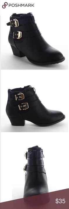 """Top Mada Black Buckle Low Heel Ankle Booties SYNTHETIC - BRAND NEW WITH BOX - MADE IN USA - SYNTHETIC SOLE - 0.5"""" PLATFORM Top Moda Shoes Ankle Boots & Booties"""