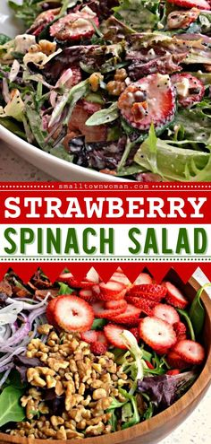 This easy pasta salad recipe is sure to become a favorite! You are going to love the textures in this Strawberry Spinach Salad with bacon, onions, feta, and walnuts in a creamy poppy seed dressing. Pin this summer bbq party idea! Bacon Spinach Salad, Spinach Strawberry Salad, Strawberry Recipes, Easy Salads, Summer Salads, Summer Bbq, Poppy Seed Dressing, Easy Pasta Salad Recipe, Green Salad Recipes