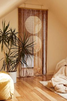 Urban Outfitters Big Dot Bamboo Beaded Curtain - Natural One Size Beaded Curtains Doorway, Bamboo Beaded Curtains, Doorway Curtain, Window Curtains, Bead Curtains For Doors, Canopy Bed Curtains, Curtain Divider, Room Window, Window Seats