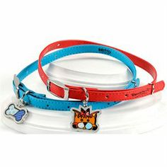 "Blue With Bone Charm Dog Collar 20"" x 3/8"" @ Picky Picky me .com"