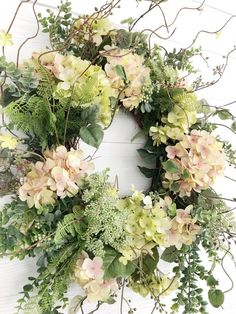 Spring Wreath, Pink and Green Hydrangea Wreath, Easter Wreath, Front Door Decor, Wreaths For Spring Green Hydrangea, Hydrangea Wreath, Greenery Wreath, Spring Front Door Wreaths, Fall Wreaths, Floral Wreaths, Burlap Wreaths, Ribbon Wreaths, Wreaths For Spring