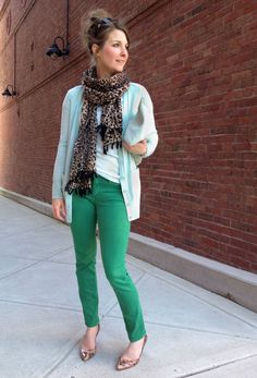 Green denim + mint cardigan + leopard scarf. Is it sad that I have all of these staples??