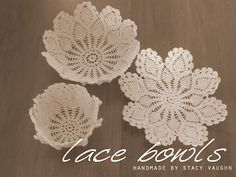 Here is a little shabby chic project... lace bowls! Doilies from Goodwill ($1), your own bowls and starch. Pretty!