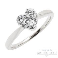 Diamond Clust Heart Women's Ring in 14k White Gold