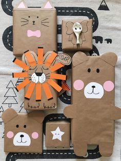 boite emballage cadeau en papier kraft enveloppant boites décorés à motifs animaux, lion, éléphant, chat et oursons