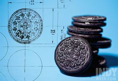 Schematic of a snack: William A. Turnier's 1952 blueprint of the Oreo design and the cookie today