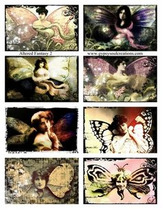 An 'Altered Fantasy Collage Sheet' by Sarah Brighton, mixed media artist