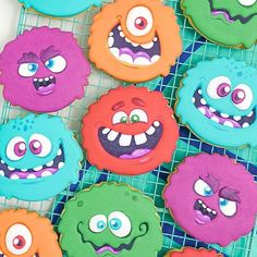 Which one is your favourite?!  I'm a sucker for character cookies with big eyes and even bigger smiles so this set of cookies was a joy for me to work on. I had a generic custom cookie cutter made and started thinking up all the different face designs I could use it for. Being October, I figured some colourful monster characters were a great place to start. I've recently been super inspired by the illustrations of @drawkman.cartoon and these cookies were my attempt at capturing his style and… Cookies For Kids, Cut Out Cookies, Sugar Cookies, Custom Cookie Cutters, Monster Face, Monster Characters, Dessert Decoration, Face Design, Big Eyes