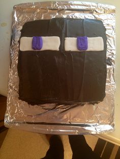 Enderman cake. Minecraft party