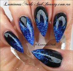 luminous-nails-and-beauty-gold-coast-qld.-sculptured-acrylic-pointy-almond-stiletto-nails.-paua-shell-effect-nails.-blue-green-glitter-nails... Don't like shape though
