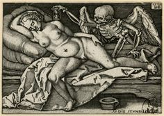 Schlafendes Mädchen und Tod, engraving by Hans Sebald Beham after design by Barthel Beham (1548); Dresden (SKD), Germany