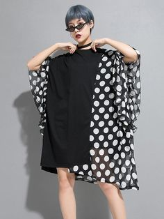 Asymmetric Polka-Dot Chiffon Split-joint Dress – moongor Cotton Style, One Piece Swimwear, Shoulder Sleeve, Tankini, Going Out, Polka Dots, Chiffon, High Neck Dress, Lingerie
