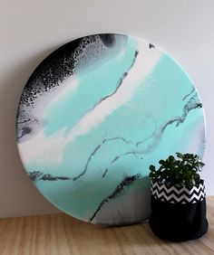 55cm resin art #resin#resinart #round#porthole#interiordesign #decor#mint#white#mint#black#silver#warrnambool3280 #warrnambool #create#create3280 #thedesignexchange by candaresindesigns
