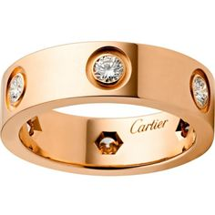 CARTIER Love 18ct pink-gold and diamond ring (7,250 CAD) ❤ liked on Polyvore featuring jewelry, rings, accessories, gioielli, joias, diamond jewelry, red gold jewelry, rose gold jewelry, cartier ring and cartier jewelry