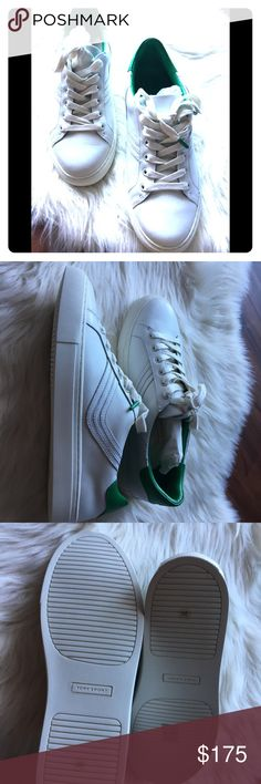 177e74f80216 Tory Burch Sneakears Chevron color block Calf leather Snow White green Tory  burch sports Comes with box Tory Burch Shoes Sneakers