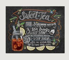 Chalkboard Sign – Art Print – Sweet Tea Recipe Print – Kitchen Decor – Chalkboard Art – Southern Art – Chalk Art - Decoration For Home Chalkboard Print, Chalkboard Lettering, Chalkboard Signs, Hand Lettering, Chalkboards, Chalkboard Art Kitchen, Chalkboard Restaurant, Blackboard Art, Chalkboard Ideas