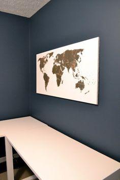 Gold leaf map art- travel craft