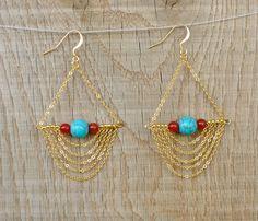 Dangle earrings Chain Long chandelier Earrings / by CoucouSuzette