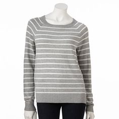 ELLE Striped Mixed-Media Sweater with the Apt. 9® Dot Crepe Blouse underneath, with some dark blue or red pants and some black booties: My kind of fall style!
