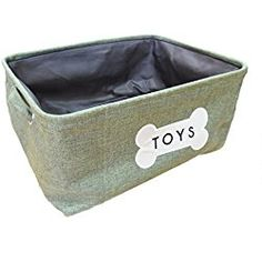 "Dog Storage Bin with ""Toys"" and Bone Embroidery"